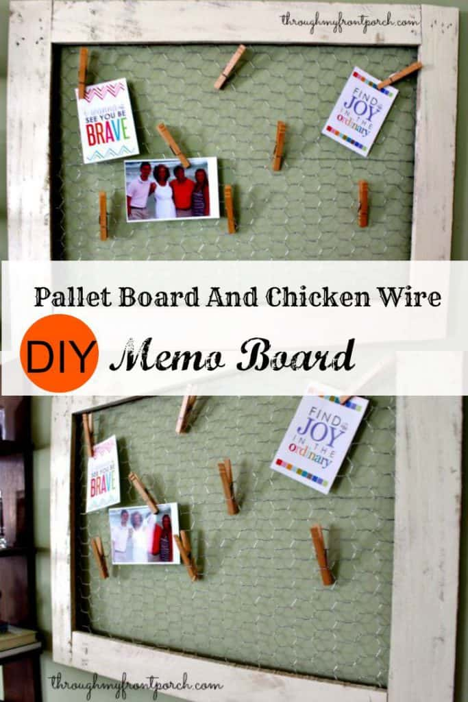 DIY Chicken Wire And Pallet Wood Memo Board - Through My Front Porch