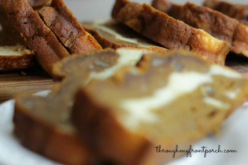 Pumpkin Bread Layered With Cream Cheese