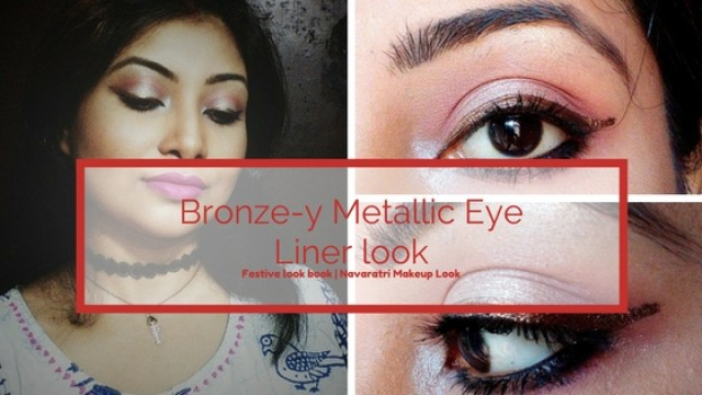 Bronze-y Metallic Eye Liner Look | Festive Look 2| Navaratri and Durgapuja look