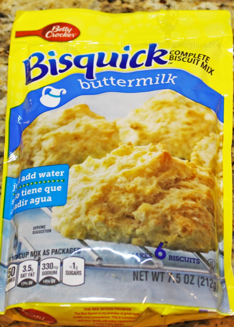 A picture of a package of Bisquick buttermilk biscuit mix.