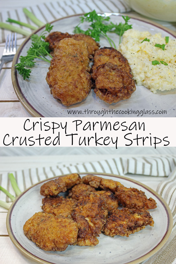 Close up and plateful of Parmesan Crusted Turkey Strips