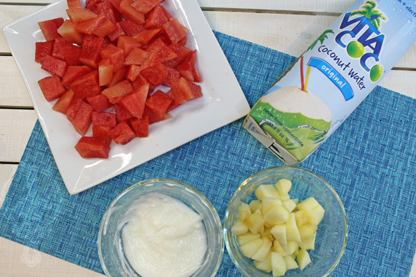 Overhead view of ingredients needed for the Apple Watermelon Smoothie.