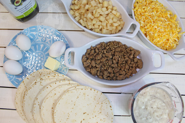 Ingredients used in Breakfast Enchiladas with Country Gravy