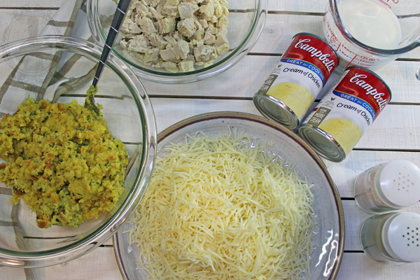 Ingredients used in Chicken Casserole with Stuffing.  Includes, cream of chicken soup, cooked, diced chicken, premade stuffing, milk, and swiss cheese.