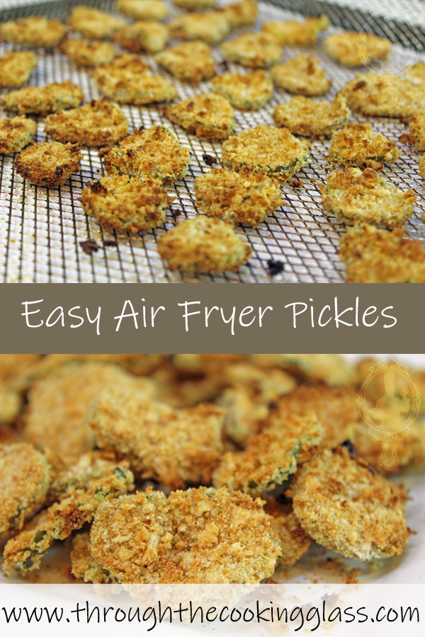Top picture has the air fried pickles on the tray and the bottom picture is of the pickles piled on a plate, close up.