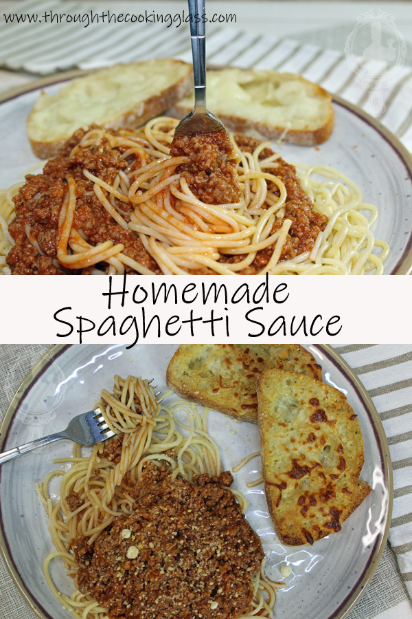 Two pictures. Top shows a fork sticking up from a pile of spaghetti on a plate.