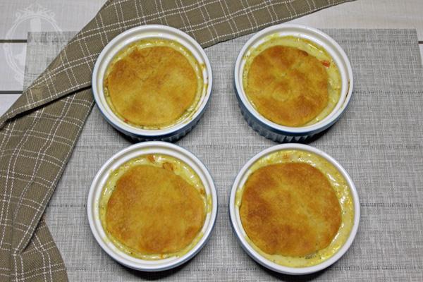 4 individual pot pies in ramekins.