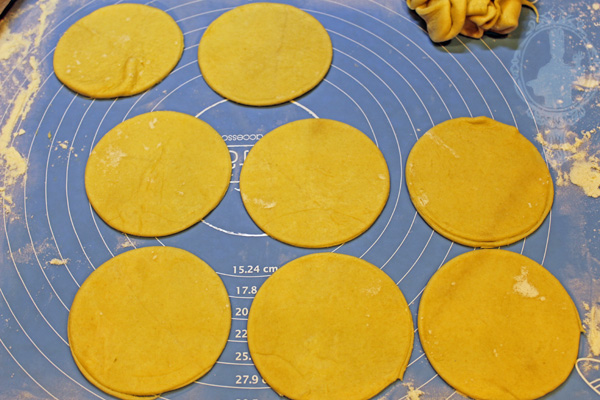 Crescent dough cut in circles to fit inside the ramekins.