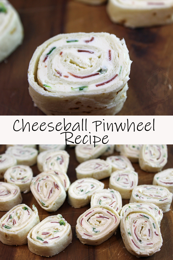 Top picture is a close up of a cheeseball pinwheel and the bottom has many on a wooden tray.