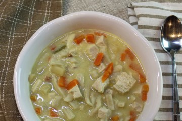 Overhead view of a bowl of chicken vegetable soup.