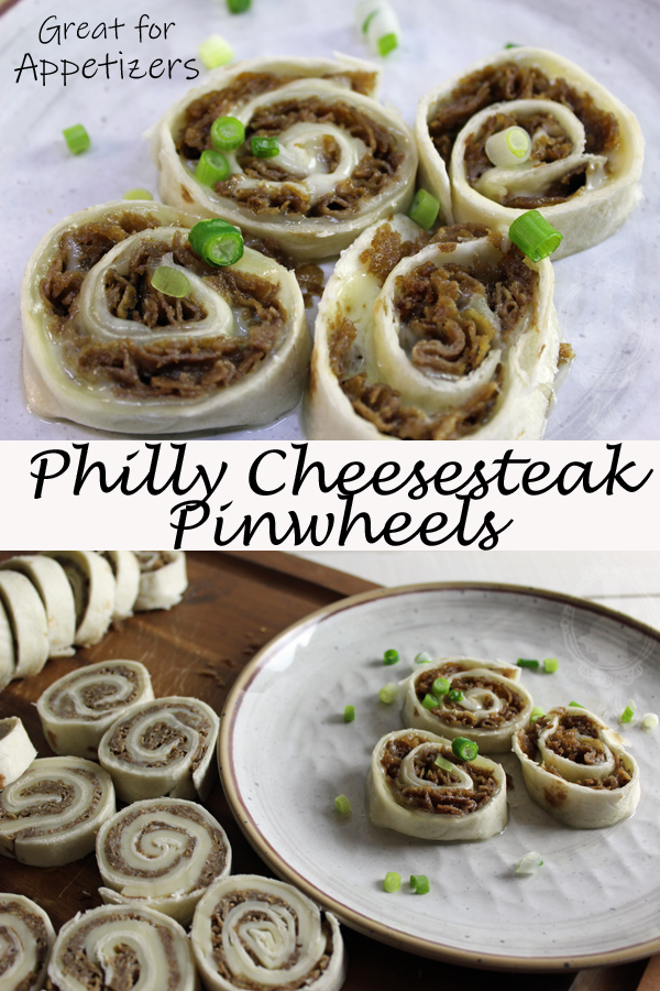 Top picture shows 4 Philly cheesesteak pinwheels sliced with green onions sprinkled over. Bottom picture shows cold pinwheels to the left and warmed up pinwheels on a plate to the right.