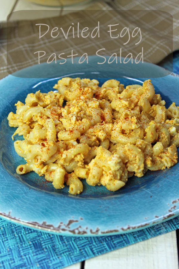 Plate of Deviled Egg Pasta Salad.