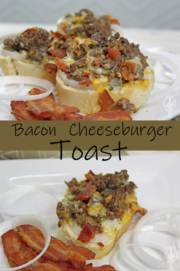 Top image shows a plate with 3 slices of Bacon Cheeseburger Toast with bacon and onions on the side. The bottom image has only one slice of the toast with bacon and onions on the side.