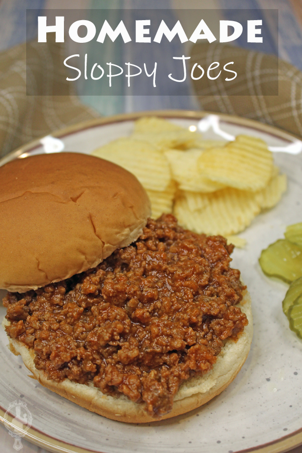 Sloppy Joes on a bun with chips and pickles in the background.