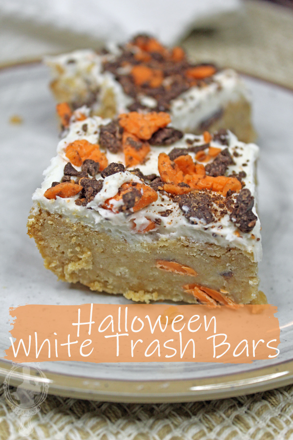 Somewhat close up of a large serving of Halloween Trash Bars.
