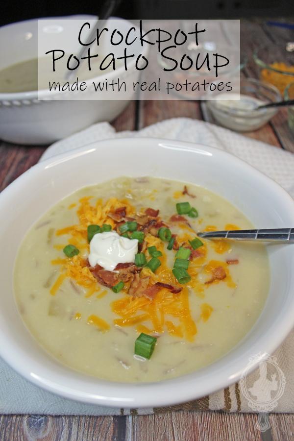 A bowl of crockpot potato soup.