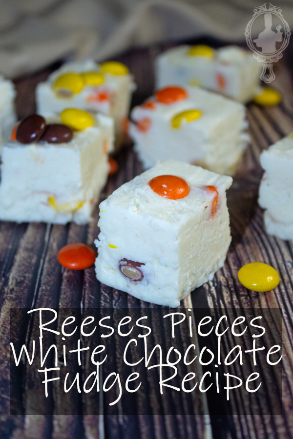Close up of Reeses Pieces White Chocolate Fudge