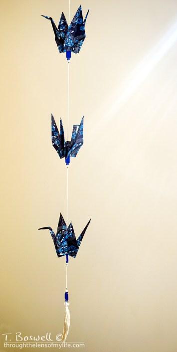 I made strands of cranes as wedding favors.