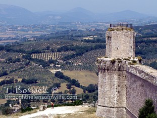 Octagonal look-out tower, Rocca Maggiore, Assisi, Italy.