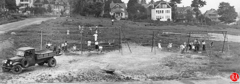 Children at the Brooklyn and Town Plot playground in Waterbury, July 1935.