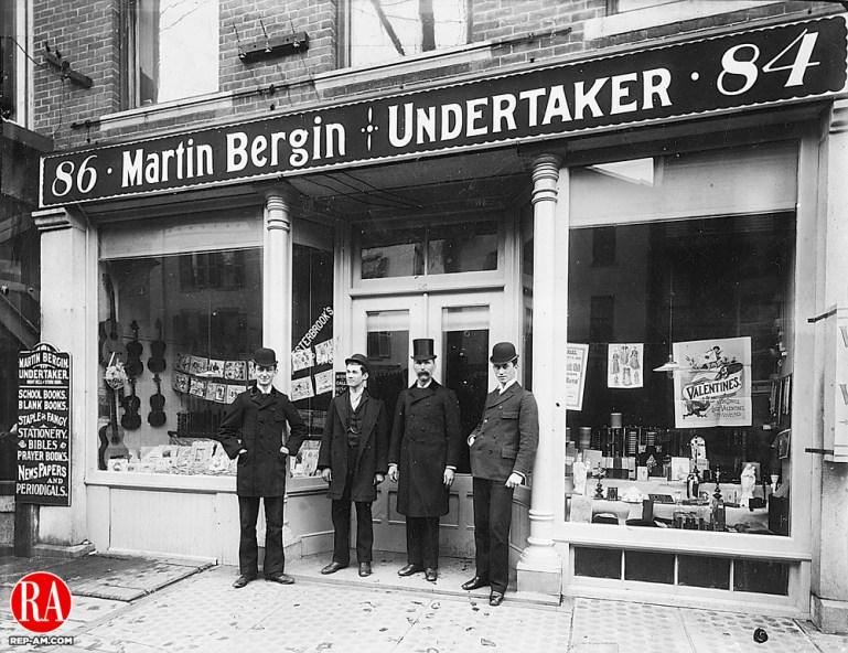 Martin Bergin Undertakers, Waterbury, 1892. Pictured left to right are: Patrick Bergin, Martin Bergin, Jr., Martin Bergin Sr., and Thomas Bergin.
