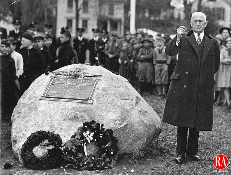 First Selectman E.R. Kaiser, Thomaston, is shown here on November 7, 1936 as he accepts, on behalf of the town, the monument in honor of the Thomaston men who gave their lives in World War I. Copyright: Republican-American