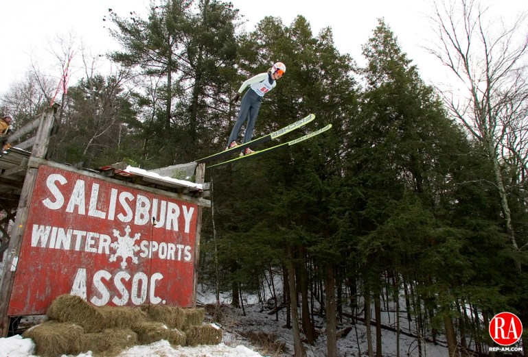 Salisbury, CT-06, February 2010-020610CM07  Nina Lussi (#68), from the New York Ski Educational Foundation, leaves the jump at SatrŽ Hill in Salisbury Saturday afternoon.  The Salisbury Winter Sports Association was in it