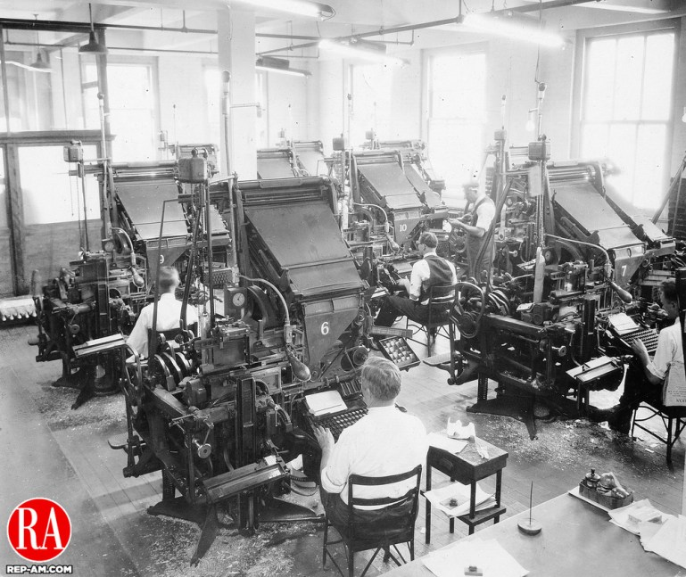 Linotype operators at work in the American-Republican office on Leavenworth Street in 1926.