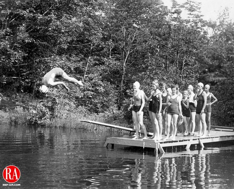 Girl Scouts swimming in Bantam Lake in 1930.