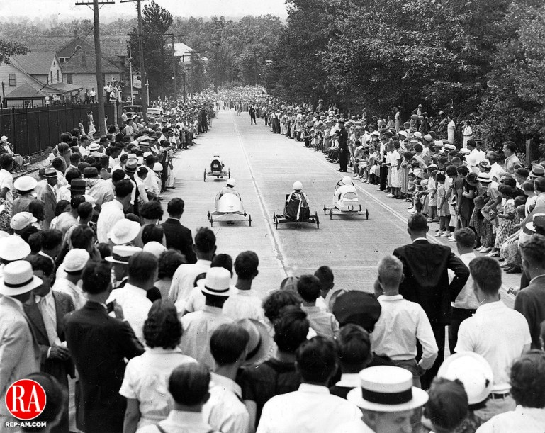 Soap Box Derby participants during the start of the race at East Main Street on July 19, 1936. The event was sponsored by the Republican-American.