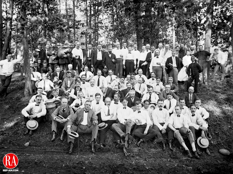 Well-dressed participants at a Waterbury Club clam bake on 28 July 1900.