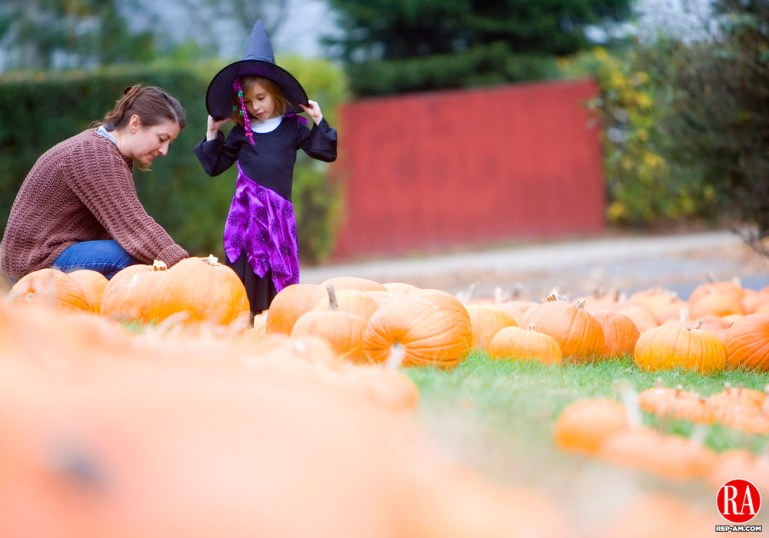 October 22, 2006 - WATERBURY - Michelle Brown of Woodbury helps her daughter Eva, 4, dressed in a witch costume, find a pumpkin at the Bunker Hill Congregational Church