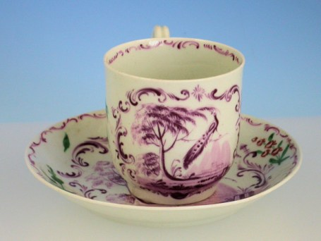 rare-early-worcester-peacock-coffee-cup-saucer