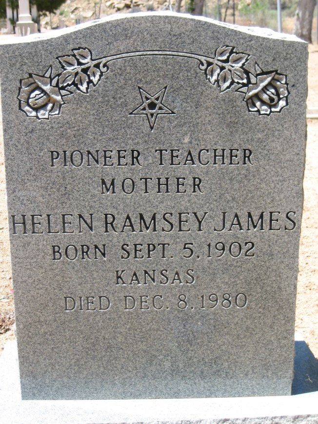 "I liked the inscription ""Pioneer Teacher"" on this tombstone."