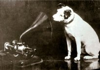 HMV logo inspiration photo of dog and gramophone