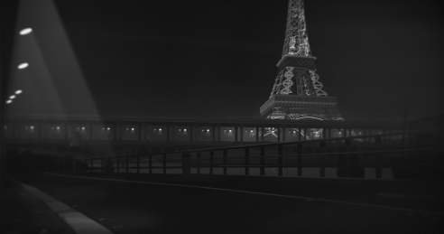 "Black and white screenshot of the Eiffel tower from the new game ""Night Call"""