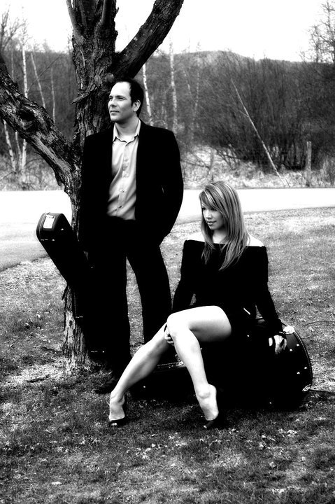 Black and white photo of Montreal pop duo, Soleil