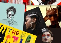 Various cover artworks and photos of albums and artists of color stylized like a collage