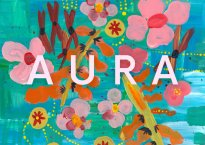 """Multi-colored album artwork with primarily teal background color. Title of """"Aura"""" is displayed overtop."""