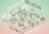 """Cover art for Tin Can Collective Album, """"Axiomatic Alarm Clock"""" Illustrated line design overlaid on a light green to rose pink solid color fade background"""