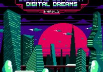 Urban landscape design done in pixelated art style. green buildings in forefront, magenta sun in background against dark sky