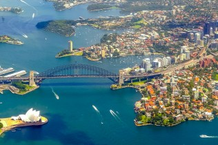 The curves of the structures complement those of the shorelines of Sydney Harbour.