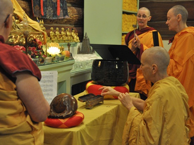 Venerable Chodron offering incense.