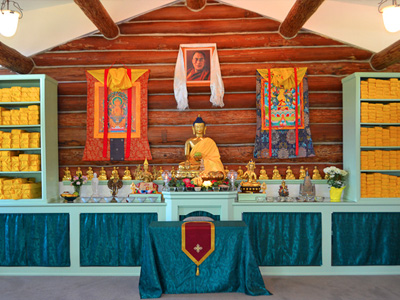 The altar at the Abbey's meditation hall.