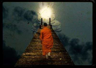 Monk walk on a path to the buddha with a light
