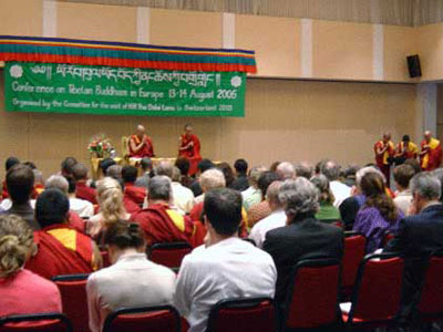 His Holiness the Dalai Lama at August 2005 European Tibetan Buddhism Conference.