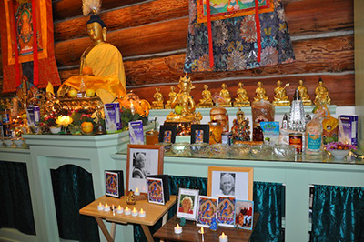 Altar set up for Medicine Buddha puja.