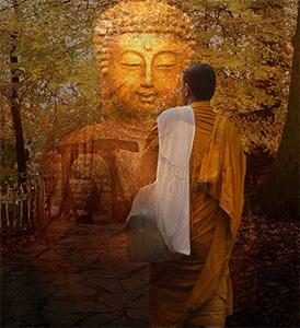 A monk walking toward a transparent Buddha statue.