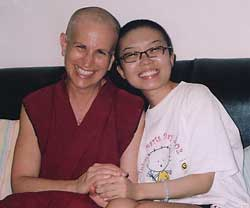 Venerable Chodron with Lin Qing Xiu