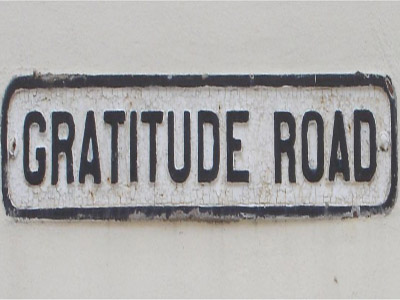A road sign with the name Gratitude Road.